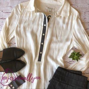 Banana Republic | tunic length semi-sheer blouse